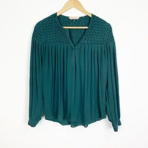 Rebecca Taylor Green Polyester Long Sleeve Blouse